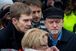 © Licensed to London News Pictures. 26/02/2016. London, UK. SEUMAS MILNE (left) Leader of the labour party JEREMY CORBYN (right) attend a CND (Campaign for Nuclear Disarmament) rally in central London on February 27, 2016. Corbyn has been criticised for publicly supporting the CND campaign while Labour Party policy  backs the renewal of Trident nuclear programme. Photo credit: Ben Cawthra/LNP