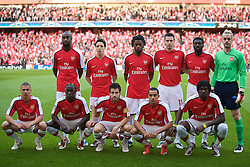LONDON, ENGLAND - Tuesday, May 5, 2009: Arsenal players line-up to face Manchester United during the UEFA Champions League Semi-Final 2nd Leg match at the Emirates Stadium. Back row L-R: Johan Djourou, Samir Nasri, Alexandre Song Billong, Robin van Persie, Kolo Toure, goalkeeper Manuel Almunia. Front row L-R: Kieran Gibbs, Bacary Sagna, captain Cesc Fabregas, Theo Walcott, Emmanuel Adebayor. (Photo by David Rawcliffe/Propaganda)