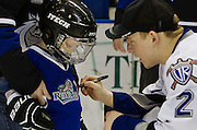 VICTORIA B.C. - FEBRUARY 9:  The Victoria Royals and Edmonton Oil Kings of the Western Hockey League square off at the Save-On-Foods Memorial Centre on Family Day February 9th, 2015 in Victoria, British Columbia, Canada. The Royals beat the Oil Kings 2-1. (Photo by Kevin Light/Victoria Royals)