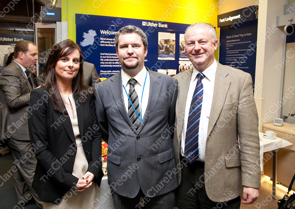 29.02.12  <br /> Ulster Bank econmy group meeting Ennis. Attending the event were, Mairead Meleady, Location Location, Cathail Shannon, Ulster Bank and Frank Moore, Financial Consultant MIPAV<br /> . Picture: Alan Place/Press 22.