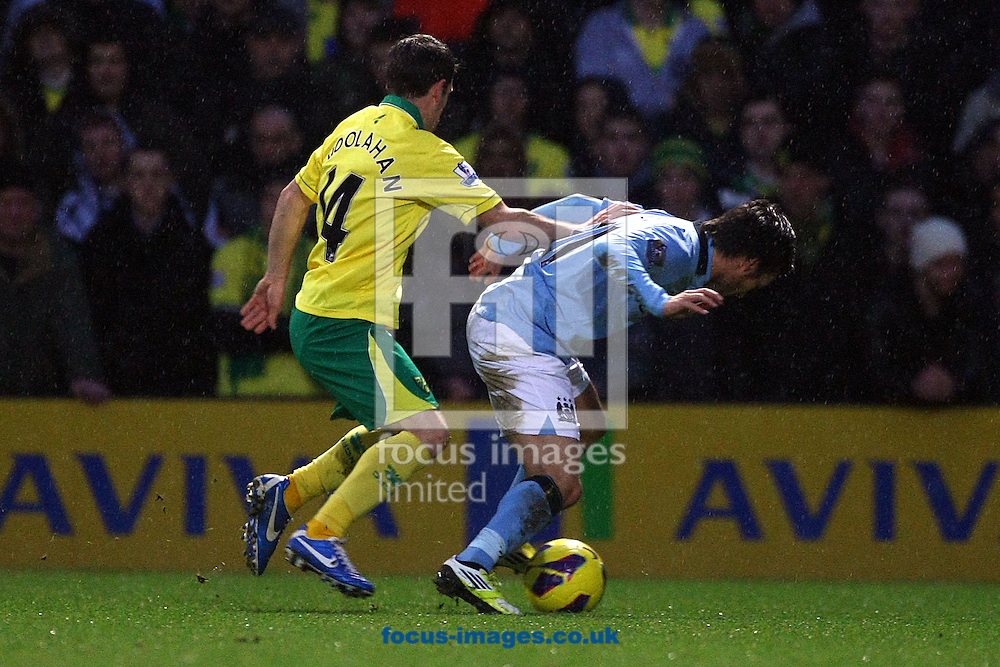 Picture by Paul Chesterton/Focus Images Ltd +44 7904 640267.29/12/2012.Wes Hoolahan of Norwich and David Silva of Man City in action during the Barclays Premier League match at Carrow Road, Norwich.