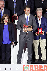 26.11.2013, Callao Cinema, Madrid, ESP, Rafael Nadal, Marca Legend Award, Gala zum Gedenken an 75 Jahre der Sport-Tageszeitung, im Bild Spanish tennis player Rafael Nadal receives the 75th Anniversary Marca Award  // attends the 75th Anniversary Marca Awards ceremony at callao cinema in Madrid, Spain on 2013/11/26. EXPA Pictures © 2013, PhotoCredit: EXPA/ Alterphotos/ Victor Blanco<br /> <br /> *****ATTENTION - OUT of ESP, SUI*****