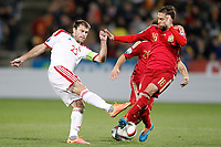 Spain's Santi Cazorla (c) and Jordi Alba (r) and Belarus' Timofei Kalachev during 15th UEFA European Championship Qualifying Round match. November 15,2014.(ALTERPHOTOS/Acero)
