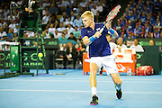 Kyle Edmund of Great Britain in action during the Davis Cup Semi Final between Great Britain and Argentina at the Emirates Arena, Glasgow, United Kingdom on 16 September 2016. Photo by Craig Doyle.