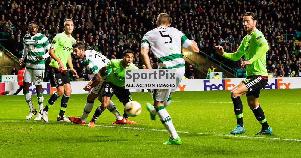 Jozo Simunovic get's a close range shot off as Celtic host Ajax at Parkhead in the Europa League.<br /> &copy; Ger Harley/ SportPix.org.uk 26 November 2015