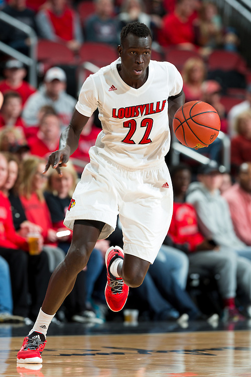 Louisville forward Deng Adel in the second half. The University of Louisville hosted Eastern Kentucky University, Saturday, Dec. 17, 2016 at The KFC Yum Center in Louisville. Louisville won 87-56.