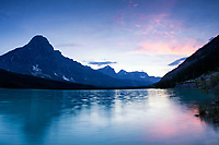 Mount Chephren towers above Waterfowl Lakes in Banff National Park, Alberta, Canada