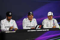The FIA Press Conference Qualifying top three (L to R): Lewis Hamilton (GBR) Mercedes AMG F1, second; Nico Rosberg (GER) Mercedes AMG F1, pole position; Valtteri Bottas (FIN) Williams, third.<br /> Japanese Grand Prix, Saturday 4th October 2014. Suzuka, Japan.