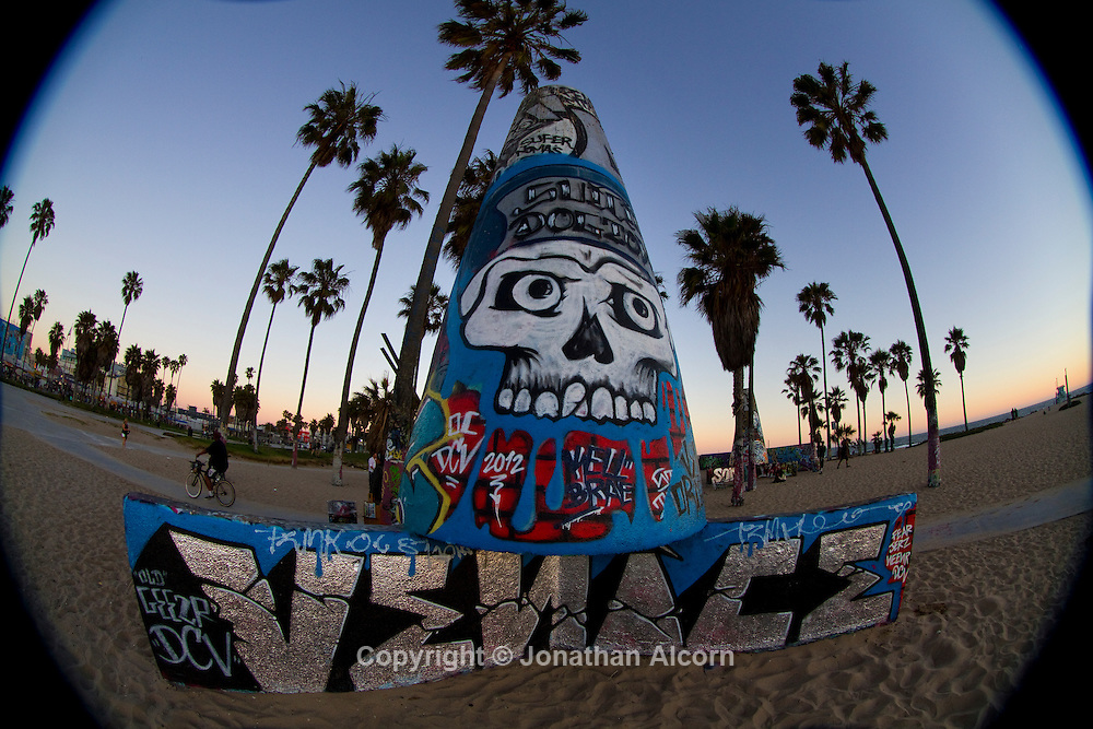 Venice Beach graffiti park area photographed with a fisheye lens..photo by Jonathan Alcorn.