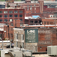High angle view of Crossroads District in downtown Kansas City, MO.