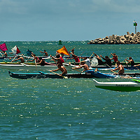 Canoe (Wa'a) races in Kahului Harbor, Maui.