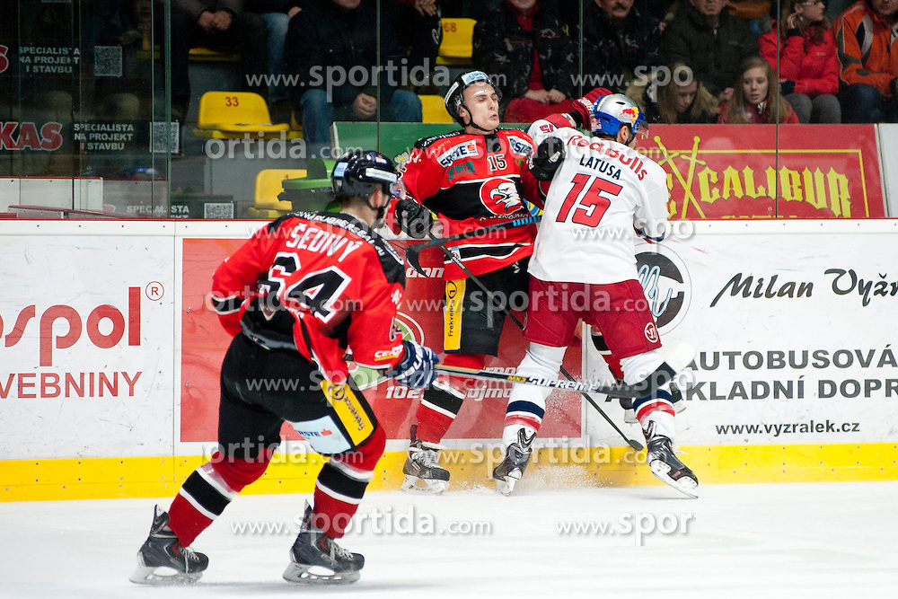 13.02.2015, Ice Rink, Znojmo, CZE, EBEL, HC Orli Znojmo vs EC Red Bull Salzburg, Platzierungsrunde, im Bild v.l. Ondrej Sedivy (HC Orli Znojmo) Antonin Boruta (HC Orli Znojmo) Manuel Latusa (EC Red Bull Salzburg) // during the Erste Bank Icehockey League placement round match between HC Orli Znojmo and EC Red Bull Salzburg at the Ice Rink in Znojmo, Czech Republic on 2015/02/13. EXPA Pictures © 2015, PhotoCredit: EXPA/ Rostislav Pfeffer