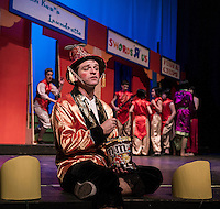 """Alex Jacobs as """"Wishy Washy"""" brings this zany musical to life during dress rehearsal for the Winnipesaukee Playhouse production of Aladdin on Thursday evening.   (Karen Bobotas/for the Laconia Daily Sun)"""