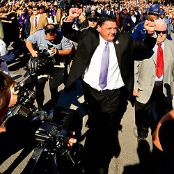Sep 11, 2016; New Orleans, LA, USA;  LSU Tigers interim head coach Ed Orgeron walks down Victory Hill with this team before a game against the Missouri Tigers at the Mercedes-Benz Superdome. Mandatory Credit: Derick E. Hingle-USA TODAY Sports