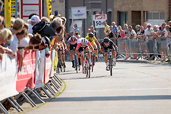 Final sprint between Marianne Vos (Rabo Liv) and Giorgia Bronzini (Wiggle High5) at the 108 km Stage 2 of the Lotto Belgium Tour 2016 on 8th September 2016 in Lierde, Belgium. (Photo by Sean Robinson/Velofocus).