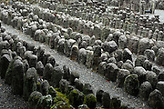 Jizo statues at the Adashino Nembutsuji Temple Kyoto Japan