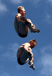 Scotland's Lucas Thomson (left) and James Heatly (right) compete in the Men's Synchronised 10m Platform Final at the Optus Aquatic Centre during day nine of the 2018 Commonwealth Games in the Gold Coast, Australia.
