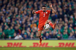 DUBLIN, REPUBLIC OF IRELAND - Friday, March 24, 2017: Wales' Neil Taylor in action against Republic of Ireland during the 2018 FIFA World Cup Qualifying Group D match at the Aviva Stadium. (Pic by David Rawcliffe/Propaganda)