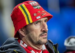 CARDIFF, WALES - Tuesday, November 19, 2019: A Welsh fan looks nervous ahead of the final UEFA Euro 2020 Qualifying Group E match between Wales and Hungary at the Cardiff City Stadium. (Pic by Laura Malkin/Propaganda)