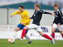 Cowdenbeath's Greg Stewart and Falkirk's Craig Sibbald ..half time : Falkirk v Cowdenbeath, 15/12/2012..©Michael Schofield.