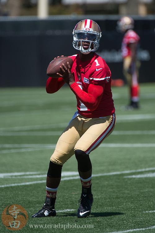 July 24, 2014; Santa Clara, CA, USA; San Francisco 49ers quarterback Josh Johnson (1) during training camp at the SAP Performance Facility.