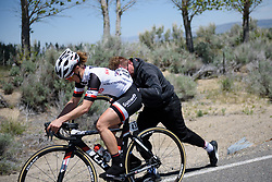 Untimely puncture for Leah Kirchmann at Amgen Breakaway from Heart Disease Women's Race empowered with SRAM (Tour of California) - Stage 2. A 108km road race in South Lake Tahoe, USA on 12th May 2017.