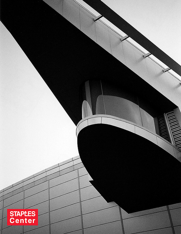 Exterior detail shot of The Staples Center sports arena in Los Angeles, California, home of the Lakers. Architectural design by Dan Meis.