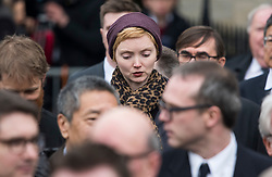 © Licensed to London News Pictures. 31/03/2018. Cambridge, UK. Model and actress LILY COLE  leaves The funeral of Stephen Hawking at Church of St Mary the Great in Cambridge, Cambridgeshire. Professor Hawking, who was famous for ground-breaking work on singularities and black hole mechanics, suffered from motor neurone disease from the age of 21. He died at his Cambridge home in the morning of 14 March 2018, at the age of 76. Photo credit: Ben Cawthra/LNP