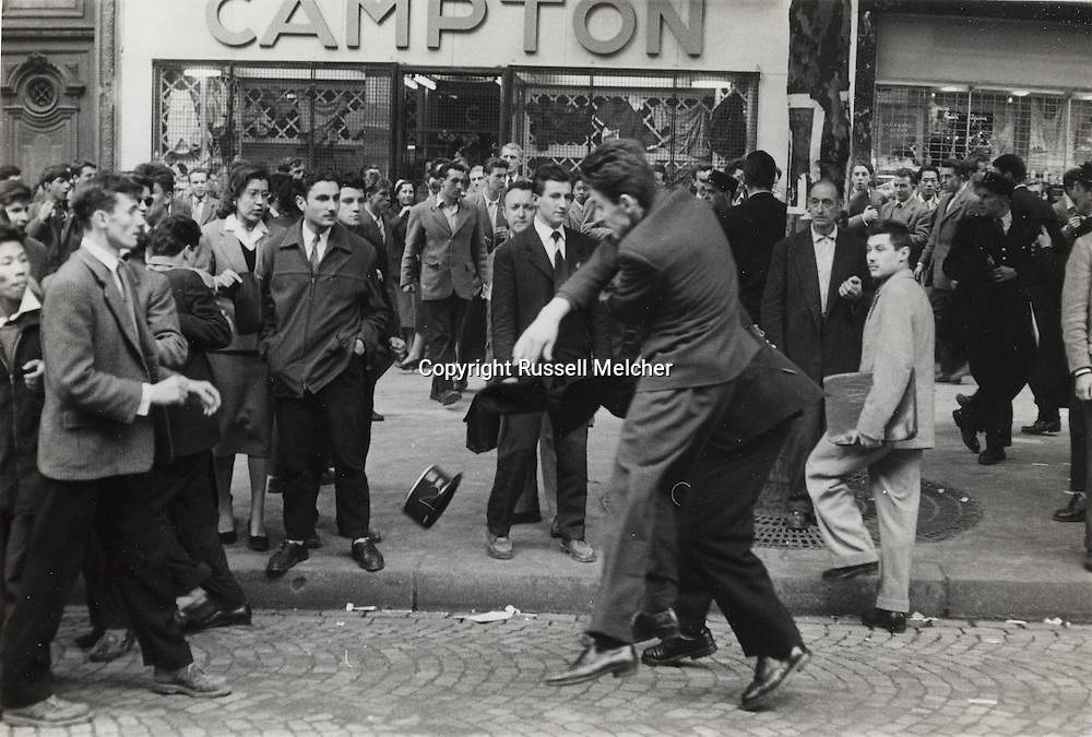 Paris.1955.Demonstrations in Paris' &quot;Latin Quarter&quot;.<br />