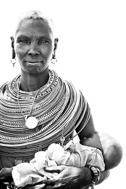 Samburu woman with child