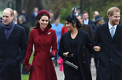 The Duke of Cambridge, the Duchess of Cambridge, the Duchess of Sussex and the Duke of Sussex arriving to attend the Christmas Day morning church service at St Mary Magdalene Church in Sandringham, Norfolk.