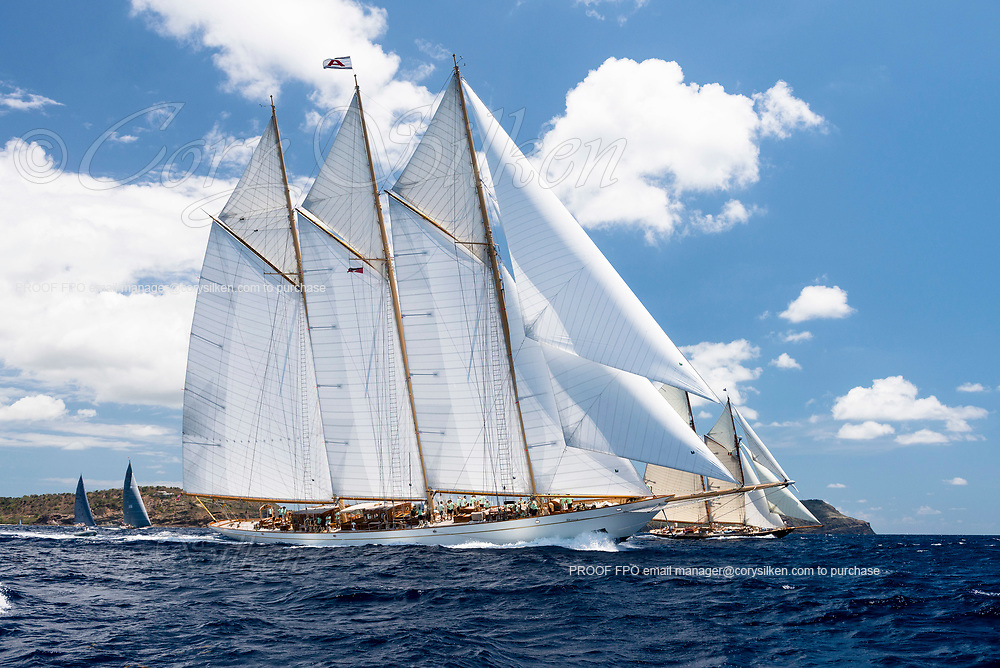 Adix and Mariette sailing in the Antigua Classic Yacht Regatta, Old Road Race.
