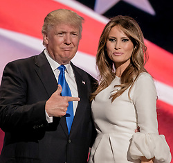 July 18, 2016 - Cleveland, Ohio, U.S. - Republican U.S. presidential candidate DONALD TRUMP gestures at his wife MELANIA TRUMP after she concluded her remarks at the Republican National Convention. (Credit Image: © Mark Reinstein via ZUMA Wire)
