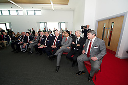 NEWPORT, WALES - Saturday, April 20, 2013: Wales coach Osian Roberts. Ian Rush, manager Chris Coleman and Phil Pritchard at the opening of the FAW National Development Centre in Newport. (Pic by David Rawcliffe/Propaganda)