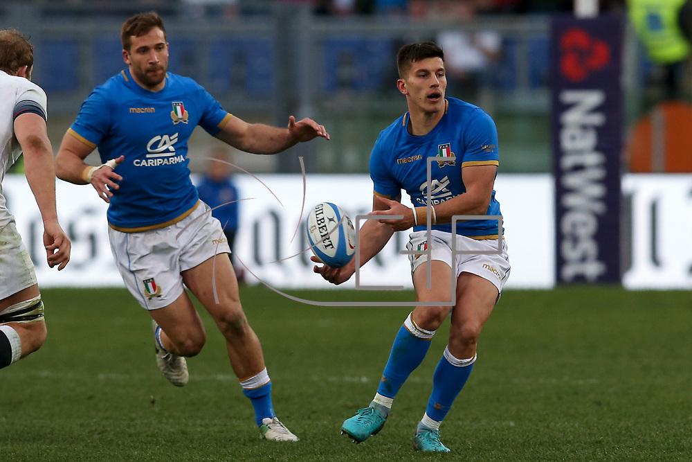 Roma 04/02/2018 Stadio Olimpico<br /> Natwest 6 nations Italia vs Inghilterra<br /> Tommaso Benvenuti  e Tommaso Allan