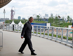 The Prince of Wales  tours the Olympic Park velodrome  in London, Wednesday 13 th June 2012.  Photo by: i-Images