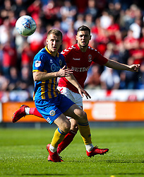 Jake Forster-Caskey of Charlton Athletic takes on Bryn Morris of Shrewsbury Town - Mandatory by-line: Robbie Stephenson/JMP - 13/05/2018 - FOOTBALL - Montgomery Waters Meadow - Shrewsbury, England - Shrewsbury Town v Charlton Athletic - Sky Bet League One Play-Off Semi Final