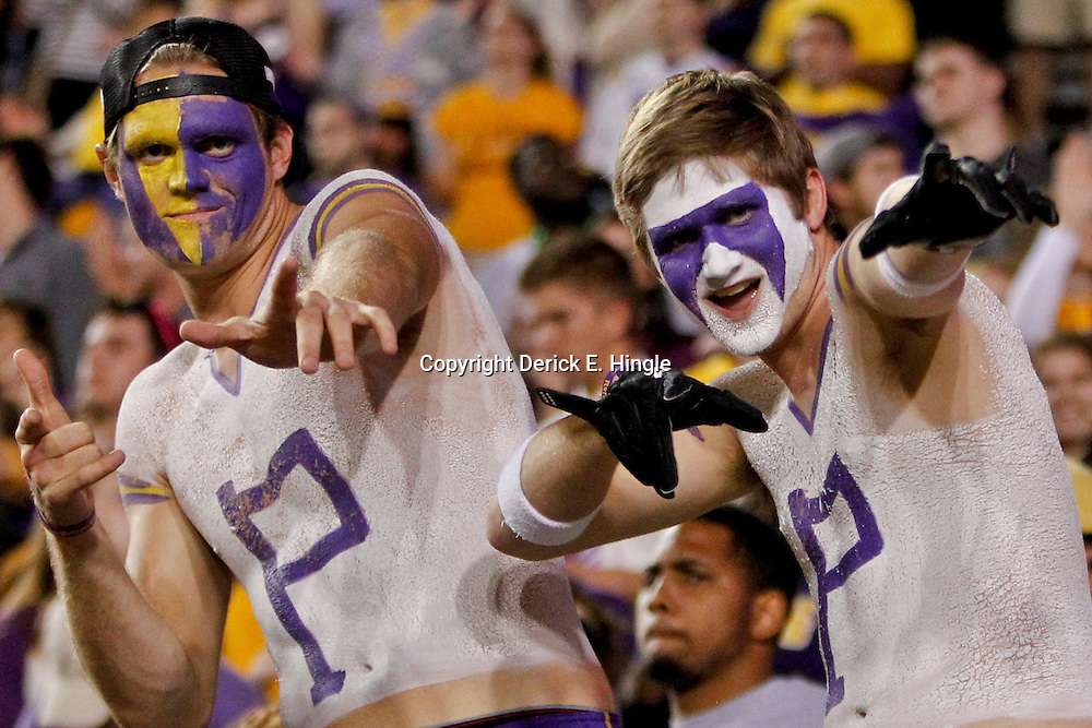 November 10, 2012; Baton Rouge, LA, USA; LSU Tigers fans in the stands during the second half of a game against the Mississippi State Bulldogs at Tiger Stadium.  LSU defeated Mississippi State 37-17. Mandatory Credit: Derick E. Hingle-US PRESSWIRE