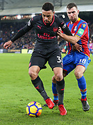 Francis Coquelin of Arsenal holds off James McArthur of Crystal Palace during the Premier League match between Crystal Palace and Arsenal at Selhurst Park, London, England on 28 December 2017. Photo by Toyin Oshodi.