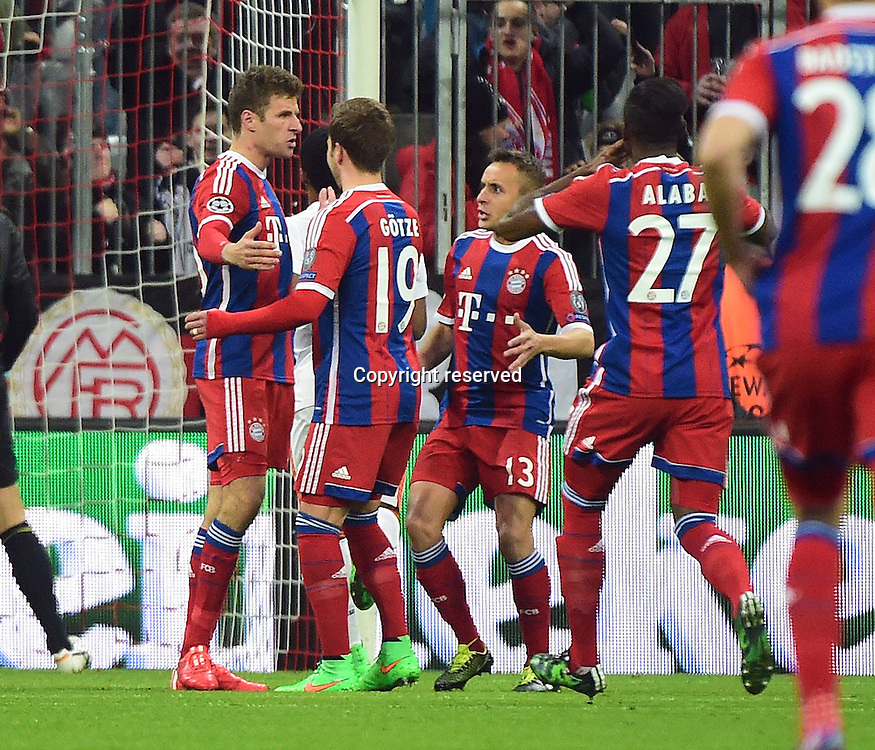 11.03.2015. Allianz Stadium, Munich, Germany. UEFA Champions League football. Bayern Munich versus Shakhtar Donetsk. Thomas Mueller (FC Bayern Muenchen) celebrates as he scores for 1:0