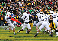 08 NOVEMBER 2008: Penn State punter Jeremy Boone (41) punts the ball from his own end zone in the first half of an NCAA college football game against Penn State, at Kinnick Stadium in Iowa City, Iowa on Saturday Nov. 8, 2008. Iowa beat Penn State 24-23.
