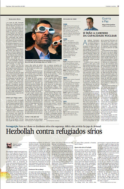 "Tearsheet (Feature story) of ""Hezbollah contra refugiados Sirios"" published in Expresso"