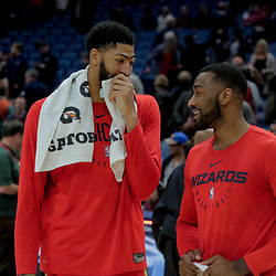 Nov 28, 2018; New Orleans, LA, USA; New Orleans Pelicans forward Anthony Davis (left) and Washington Wizards guard John Wall (right) talk following a game at the Smoothie King Center. Mandatory Credit: Derick E. Hingle-USA TODAY Sports