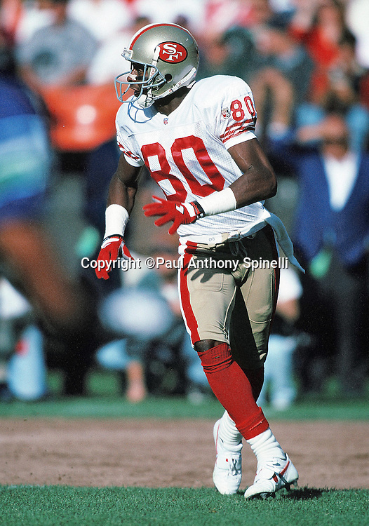 San Francisco 49ers wide receiver Jerry Rice (80) goes out for a pass during the NFL preseason football game against the Seattle Seahawks on Aug. 26, 1995 in San Francisco. The 49ers won the game 17-7. (©Paul Anthony Spinelli)