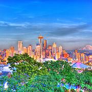 Seattle, Washington city skyline, Space Needle and Mt. Rainier