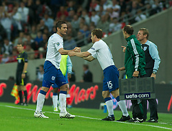 LONDON, ENGLAND - Tuesday, September 6, 2011: England's Frank Lampard is substituted by Scott Parker during the UEFA Euro 2012 Qualifying Group G match against Wales at Wembley Stadium. (Pic by Gareth Davies/Propaganda)