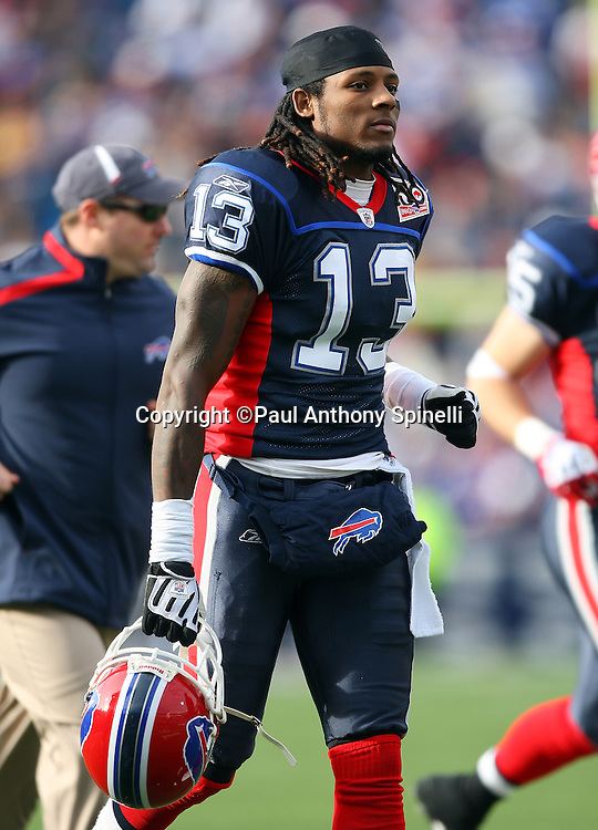 Buffalo Bills wide receiver Steve Johnson (13) jogs off the field during the NFL football game against the Houston Texans, November 1, 2009 in Orchard Park, New York. The Texans won the game 31-10. (©Paul Anthony Spinelli)