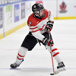 WHITBY, - Dec 18, 2015 -  Game #12 - Bronze Medal Game, Team Canada East vs. United States at the 2015 World Junior A Challenge at the Iroquois Park Recreation Complex, ON. Owen Grant #2 of Team Canada East skates with the puck during the second period.<br /> (Photo: Shawn Muir / OJHL Images)