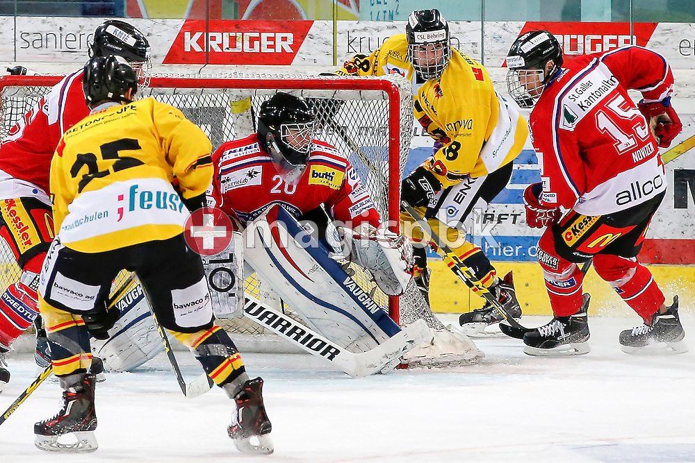 Rapperswil-Jona Lakers goaltender Beat TRUDEL (C) and forward Petr CAJKA (R) are pictured during a Novizen Elite ice hockey game between Rapperswil-Jona Lakers and SC Bern Future held at the Diners Club Arena in Rapperswil, Switzerland, Saturday, Feb. 6, 2016. (Photo by Patrick B. Kraemer / MAGICPBK)