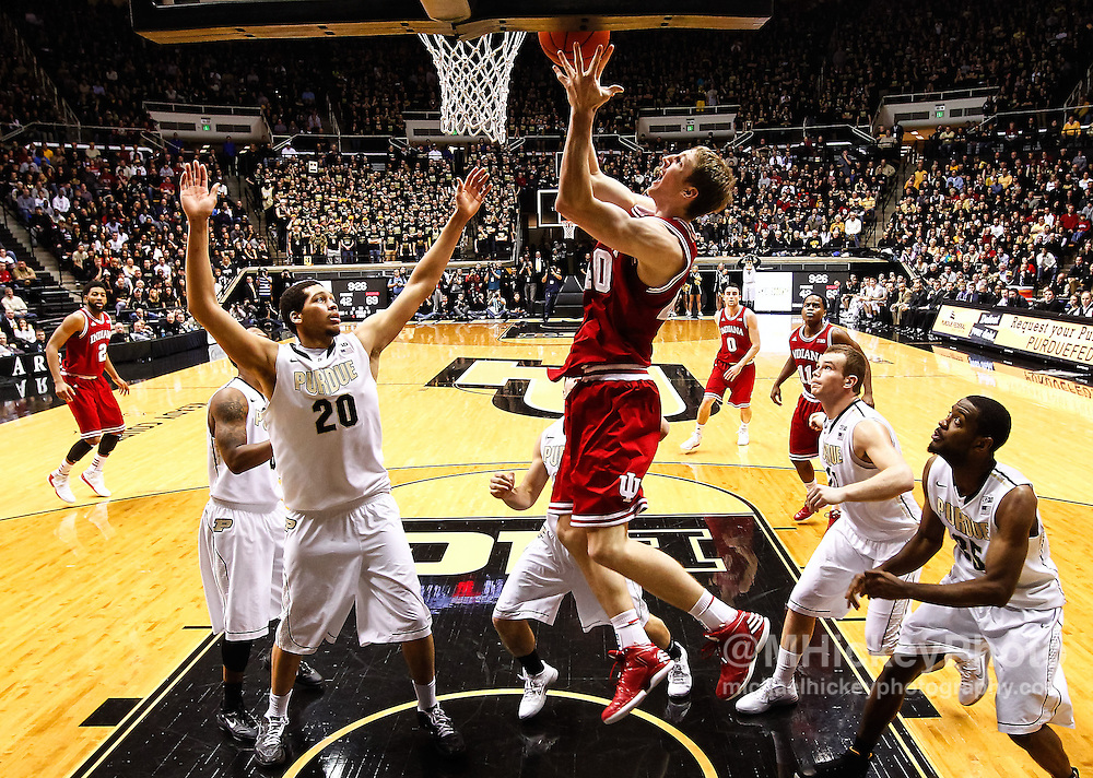 WEST LAFAYETTE, IN - JANUARY 30: Cody Zeller #40 of the Indiana Hoosiers shoots the ball as A.J. Hammons #20 of the Purdue Boilermakers looks on at Mackey Arena on January 30, 2013 in West Lafayette, Indiana. Indiana defeated Purdue 97-60. (Photo by Michael Hickey/Getty Images) *** Local Caption *** Cody Zeller; A.J. Hammons